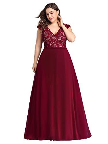 Ever-Pretty Women's Plus Size Floral Lace Patchwork Wedding Party Maxi Dress Burgundy US18