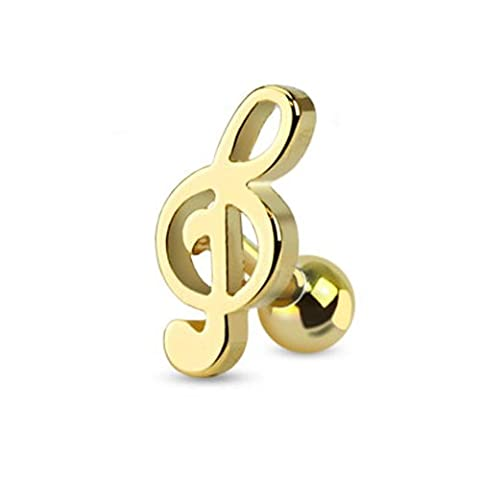 Treble Clef Music Note Tragus/Cartilage Piercing Stud, Gold Color IP Surgical Steel - Sold (Music Note Cartilage)