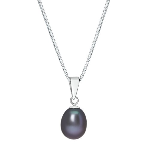 7-8MM Freshwater Black Pearl Sterling Silver Pendant (Black Pearl Sterling Silver Hoop)