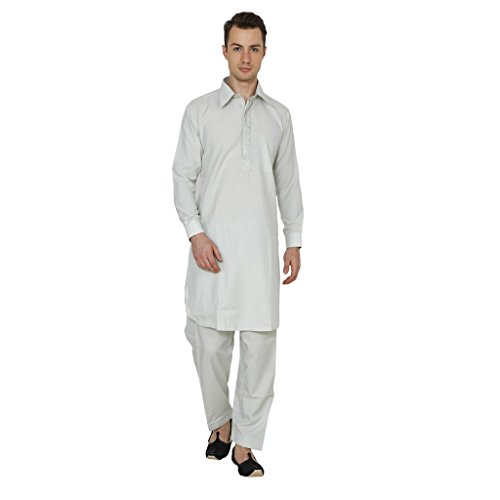 Royal Kurta Men's Polycotton Embroidered Pathani Suit (Best Pathani Suit For Mens)