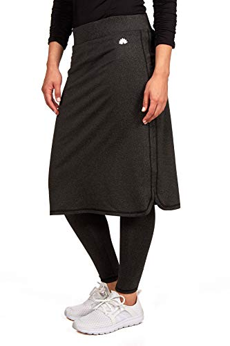 Snoga Modesty Athletic Wear - Yoga Pants w/Attached Skirt (X-Small, Black Heather) -