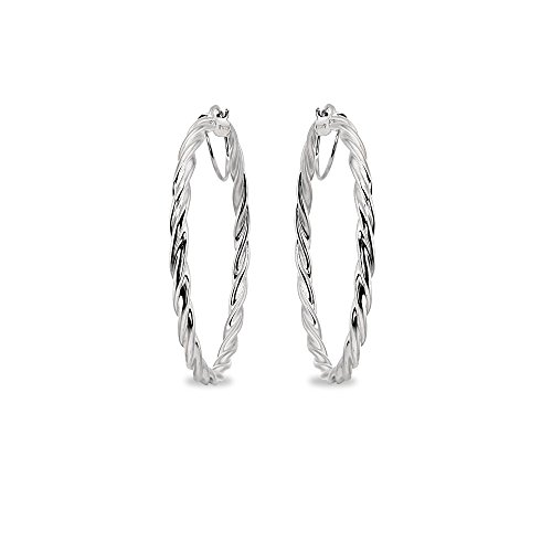 Sterling Silver 3x45mm Twist Round Large Hoop Earrings for Women Girls, 1 3/4 Inches