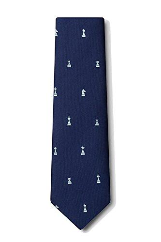 Men's Microfiber Checkmate Chess Game Pieces Novelty Tie Necktie (Navy Blue)