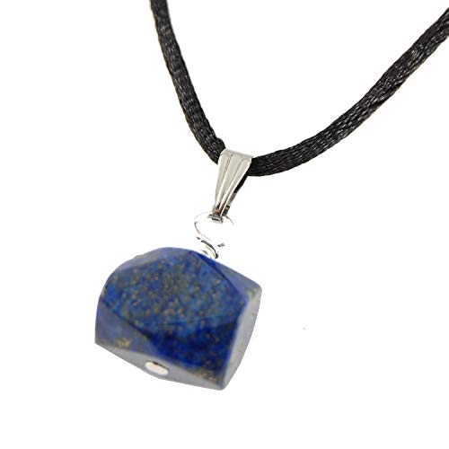 Steampunkers USA Miner's Horde - Faceted Chunk Nugget Lapis Lazuli Blue Golden Pyrite 15mm Wide - 20-22 inch Black Cord - Crystal Gemstone Carved Necklace Charm Handmade