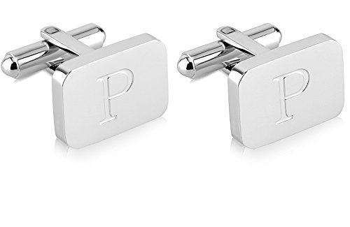 (18K White-Gold Plated Initial Engraved Stainless Steel Man's Cufflinks With Gift Box -Personalized Alphabet Letter's By Lux & Pair (P- White)