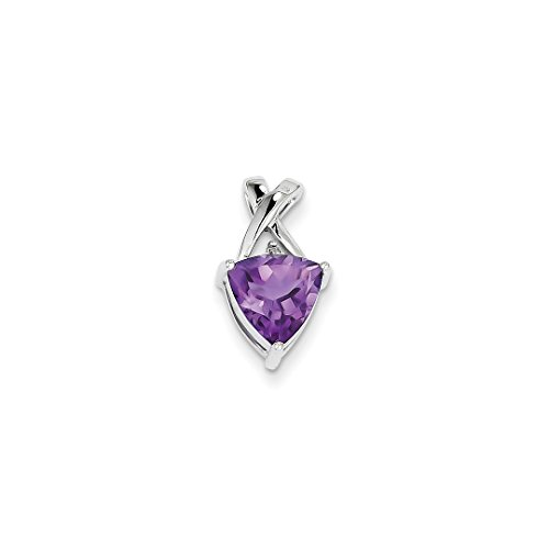 ICE CARATS 14kt White Gold Purple Amethyst Topaz Trillion Pendant Charm Necklace Gemstone Fine Jewelry Ideal Gifts For Women Gift Set From (Gemstone Trillion Necklace)