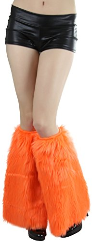 (ToBeInStyle Women's Faux Fur Knee Hi Leg Warmer (Neon)