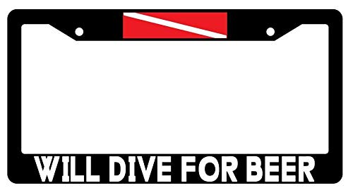 ill Dive for Beer License Plate Frame, Funny Beer Aluminum Metal License Plate Frame with Screws - 2 Holes Car License Plate Cover for US Vehicles ()