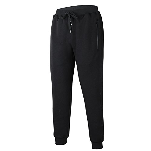 Midweight Sweatpants (Beroy Men's Basic Active Training Running Gym Jogger Pants Zipper Pockets Sweatpants, Large, Black)