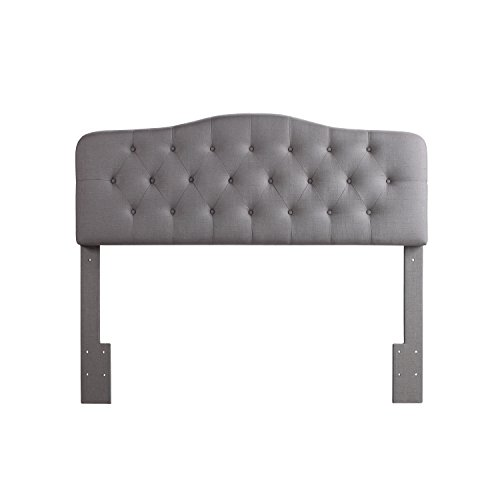 Rosevera Home Givanna Upholstered Tufted Button Linen Headboard-King Size in Grey
