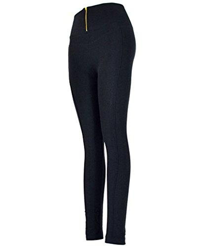Women's Zip Up High-Waist Leggings (L/XL, Black)