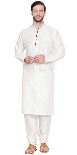 (SKAVIJ Men's Art Silk Kurta Pajama Indian Traditional Dress (Medium, Off-White))