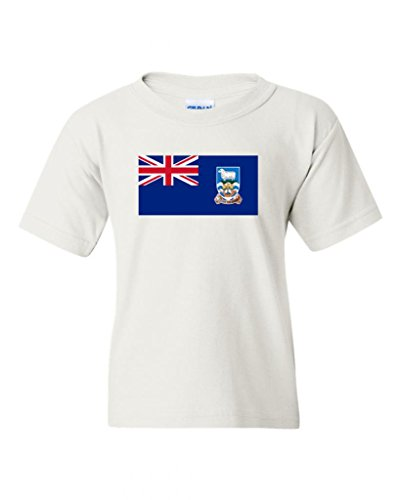 (Falkland Islands Country Flag DT Novelty Youth Kids T-Shirt Tee (X-Large, White))