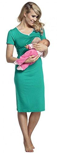 Happy Mama. Para Mujer Camisón Premamá Embarazo Lactancia Mangas Cortas. 274p Verde Azulado