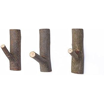 WOOD MEETS COLOR Decorative Wood Adhesive Hooks, Creative Vintage Wall hooks,  Key Holder,