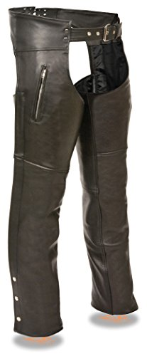 Milwaukee Leather Men's Leather Chap w/ Zippered Thigh Pockets (Black, 2X)