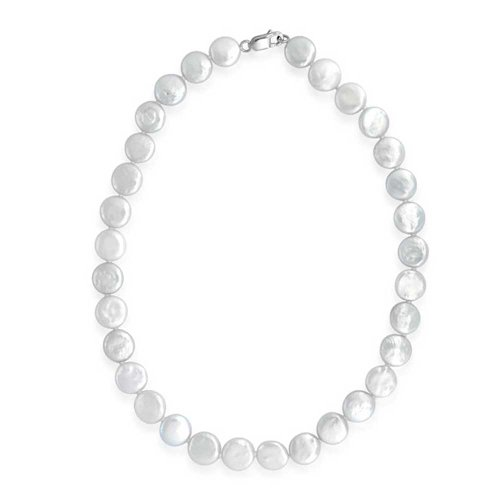 Simple Bridal White Biwa Coin Cultured Pearl Strand Necklace For Women 925 Sterling Silver