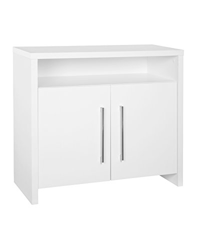 White Sliding Door Media Cabinet - ClosetMaid 1655 2-Door Storage Cabinet with Shelf, White
