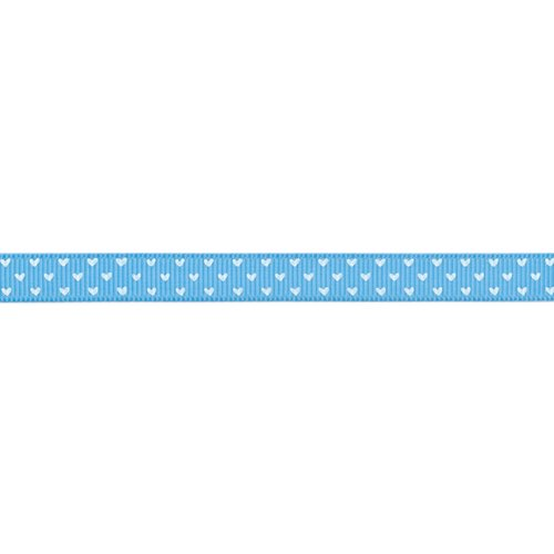 American Crafts 3/8-Inch Grosgrain with White Hearts Ribbon, 5-Yard Spool, Ocean Ocean Blue Grosgrain Ribbon