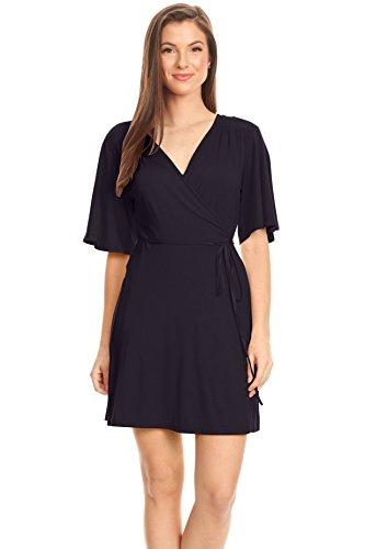 Simlu Navy Blue Wrap Dress for Women Reg and Plus Size Loose A Line Flared Sleeve Sexy Wrap Dress with Belt (Size XXLarge, - Size Plus Wrap Capri