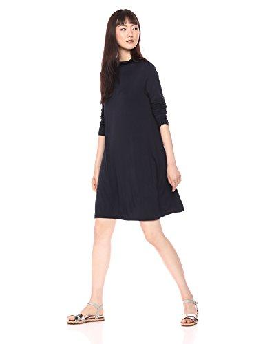 Daily Ritual Women's Jersey Mock-Neck Swing Dress, Navy, X-Small