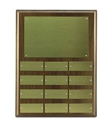 Walnut Perpetual Plaque - 9 x 12 Walnut Perpetual Plaque Engraved with 12 Brass Name Plates