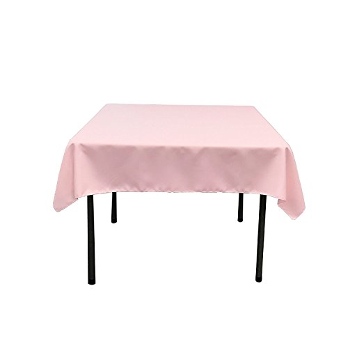 Gee Di Moda Square Tablecloth - 52 x 52 Inch - Pink Square Table Cloth for Square or Round Tables in Washable Polyester - Great for Buffet Table, Parties, Holiday Dinner, Wedding & More