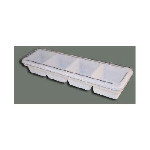 Winco - Plastic White 4 Compartment Bar Caddy, 18 x 5 x 3 inch