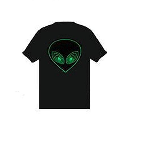 Grüner Alien Sound Reactive EL Flashing T-Shirt Equalizer