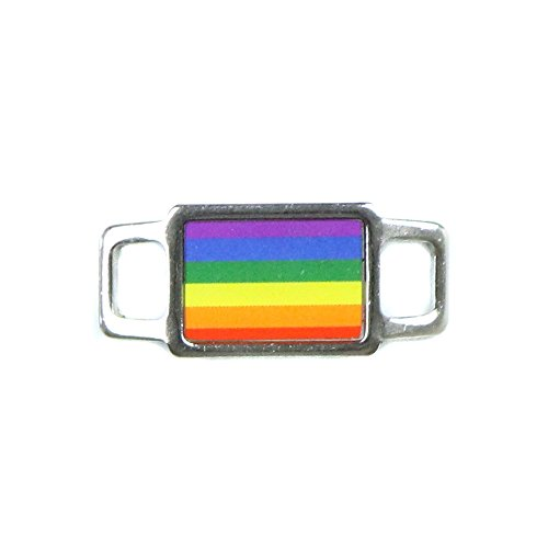 Paracord Planet Rectangle Symbol Charms - Colorful & Creative - Many Styles & Colors Available - Perfect For Paracord Jewelry, Bracelet, Necklace (Rainbow Stripes)