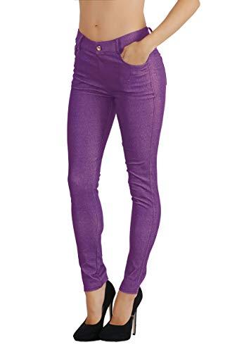 Fit Division Women's Jean Look Cotton Blend Jeggings Tights Slimming Full Lenght Capri Bermuda Shorts Leggings Pants S-3XL (S US Size 2-4, FDJN827-PUR) (Division 4 Clothing)