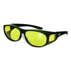 Global Vision Escort YT Fit Over Glasses Matching Side Lens Fits over Most Prescription Glasses Yellow Lens Black Frame