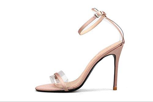 JUWOJIA Verano Sandalias Mujer Sandalias De Vestir Tacones Finos NUDE 10cm talón