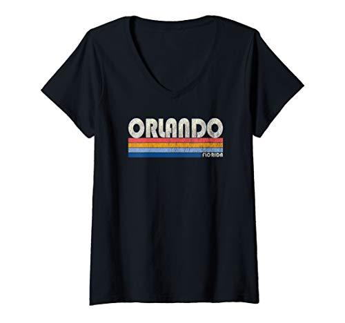 Womens Vintage 70s 80s Style Orlando FL V-Neck T-Shirt (Orlando Fl)