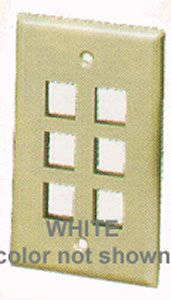 ICC IC107F06WH ABS Plastic 1-Gang 6-Port Classic Configurable Flat Traditional Faceplate White