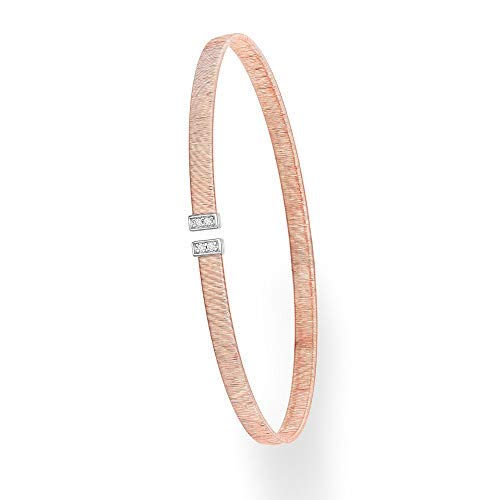 - 14k Rose Gold 0.04ct Diamond Brushed Omega Italian Silk Cuff Bangle Bracelet