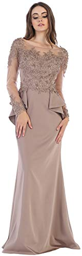 5f1b294f7d2 Formal Dress Shops Inc FDS1593 Long Sleeve Formal Special Occasion Gown  (Dusty Rose