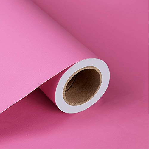 Yija Solid Color Frosted Contact Paper Waterproof Wallpaper Shelf Drawer Liner Self-Adhesive Cabinet Sticker 15.6 Inch by 98 Inch (Rose Red) ()