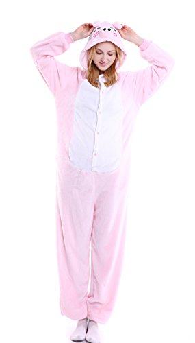 Peppa Pig Adult Costumes (Dingwangyang Uinisex Adult Pajamas Onesie Kigurumi Cosplay Costumes Animal Jumpsuit Peppa Pig-XL)