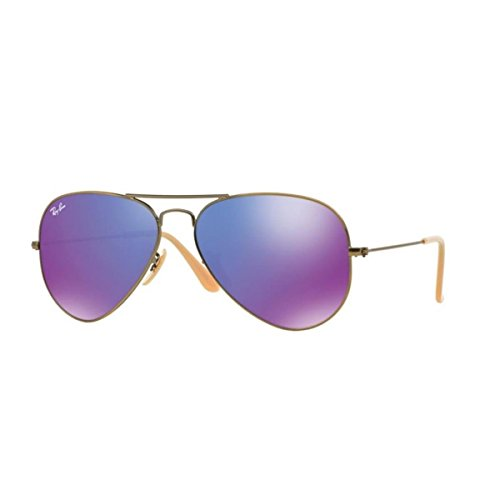 Ray-Ban RB3025 Aviator Flash Mirrored Sunglasses, Brushed Bronze Demi Shiny/Violet Mirror, 55 mm