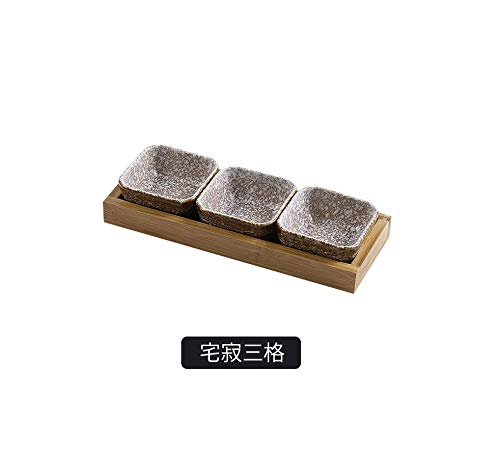 Deluxe Tray Dried Fruit (Creative ceramic grid fruit snack serving platter Japanese small dish with Home desktop dried fruit snack tray,C-3PCS)