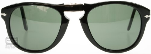 Persol PO0714 95/31 Gloss Black PO0714 Round Sunglasses Lens Category 3 Size - Persol Folding