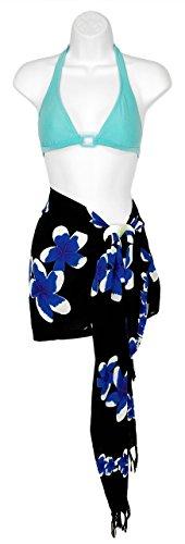 1 World Sarongs Mini Pareo para Mujer con Estampado de Plumerias - Azul Real/Negro