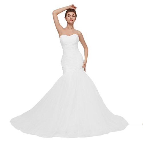 OYISHA Womens Sweetheart Mermaid Wedding Dress Tulle Bridal Dresses Long WD162 White B 24Plus