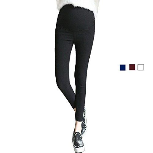 ペネロペ激しいカウントアップspinas (スピナス) 妊娠しても今まで通りのパンツスタイルを楽しむ 初期から臨月まで着用できるマタニティレギンスパンツ 全4色(白 黒 赤 紺) (M, ブラック)