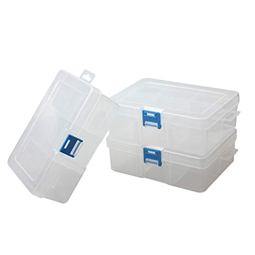 BangQiao 3 Pack Plastic Removable Divider Box and Storage Case for Small Parts, Hardware and Craft, 6-grids, Clear