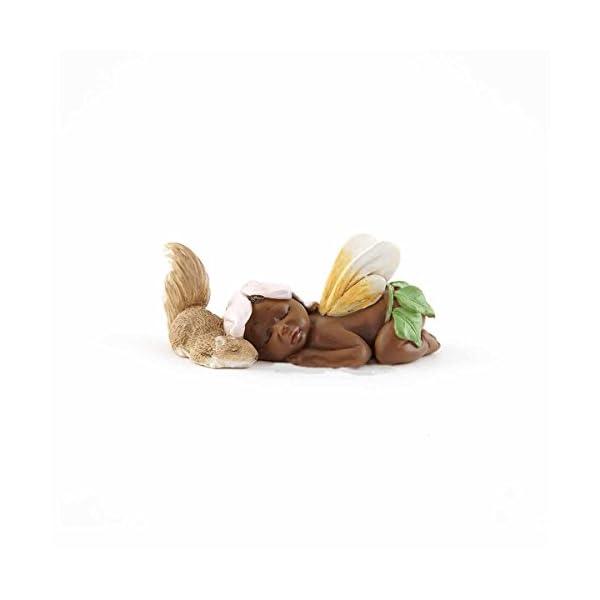 Sleeping Ebony Fairy Baby With Squirrel Top Collection Miniature Garden And Terrarium