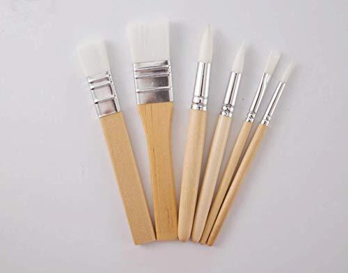 6 Pack Paint Brushes Set Wooden Handle Painting Brush Artist Professional Painting Supplies Art Paint Brush Nylon Hair…