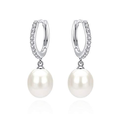 JORA Sterling Silver Teardrop Freshwater Pearl CZ Huggie Hoop Earrings for Women