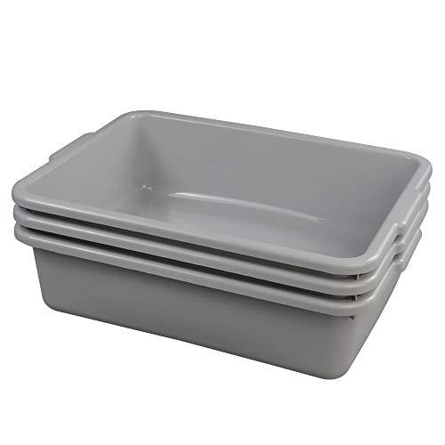 Ggbin Plastic Dish Tubs, Commercial Bus Box/Wash Basin Tote Box, 3-Pack(Grey, - Box Grey Bus